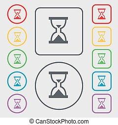 広場, 砂時計, frame., シンボル, タイマー, ボタン, 砂, ベクトル, 印。, ラウンド, アイコン