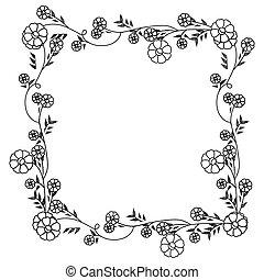 広場, 花輪, 装飾, 花, モノクローム, 花, 輪郭