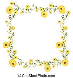 広場, 花輪, 黄色, 装飾, 花, 花