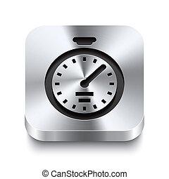 広場, 金属, ボタン, -, ストップウォッチ, perspektive, アイコン