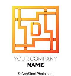 広場, d, カラフルである, 現実的, シンボル, 白, breaks., バックグラウンド。, ベクトル, デザイン, 手紙, ロゴ, 迷路, 影, あなたの, テンプレート