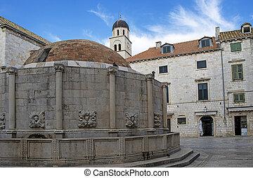 広場, dubrovnik, croatia, 大きい, 噴水, stradun, 通り, onofrio