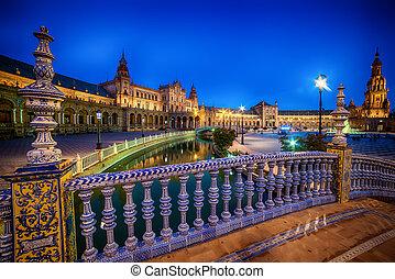 広場, espana, プラザ, de, spain:, seville, スペイン