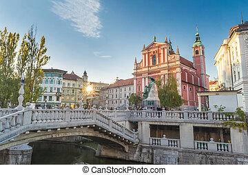 広場, franciscan, スロベニア, preseren, ljubljana, 教会, お告げの祝日, europe.