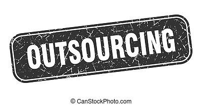 広場, grungy, 印, 黒, outsourcing, stamp.