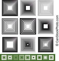 広場, illustration., 混ぜられる, 抽象的, 要素, ベクトル, set.
