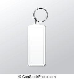 広場, keychain, キーホルダー, 隔離された, ベクトル, 背景, ブランク, リング, 白