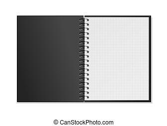 広場, mockup, らせん状に動きなさい, 現実的, ノート, 黒, シート, 格子, 白, 開いた