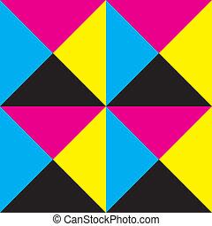 広場, trianges, 黄色, 4, 黒, makenta, 背景, タイル, シアン