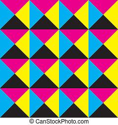 広場, trianges, makenta, 4, plaid, 黒, 黄色の背景, シアン