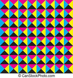 広場, trianges, seamless, makenta, 4, 黒, 黄色の背景, シアン