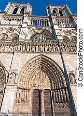 広角である, パリ, notre, de, パリ, フランス, ファサド, (1160-1345), 西, 大聖堂, 光景, 貴婦人