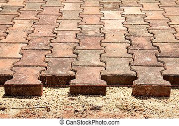 床材, tiles., 中に, ∥, 新しい, house.