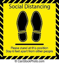 床, シンボル, フィート, 人々, 練習する, フィート, distancing, 立ちなさい, 場所, 地位, 6, 実施しなさい, マーカー, 印, ポジション, 置かれた, 離れて, 社会