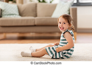 床, モデル, 赤ん坊, 家, 女の子, 幸せ