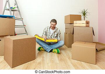 床, 写真, モデル, 箱, 人, ボール紙, ピザ