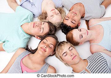 床, 十代の若者たち, 睡眠, 一緒に, 頭