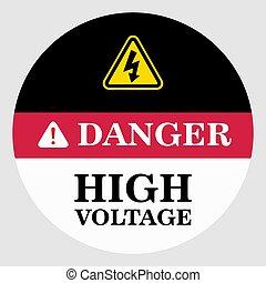 床, 危険, ベクトル, 高く, 印, 電圧