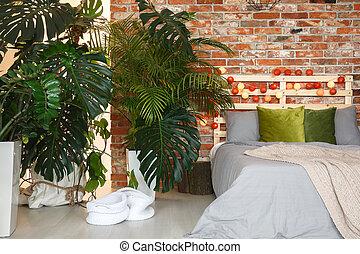 床, 在下面, the, 棕櫚樹