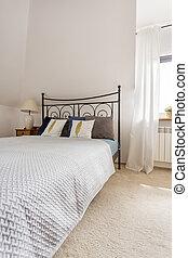 床, 在中, a, 白色, 寝室