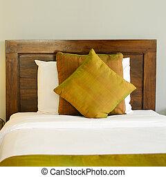床, 在, a, 旅館房間, 夜間