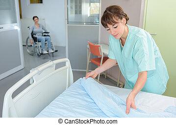 床, 在, a, 醫院房間