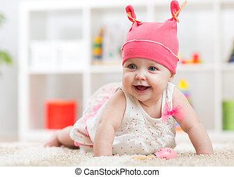 床, 子供, 託児所, 這う, 赤ん坊, 微笑
