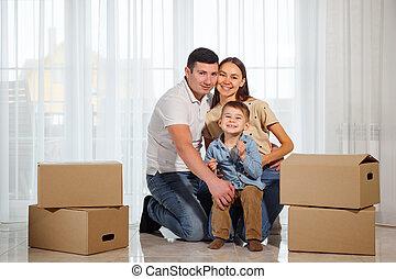 床, 家族, モデル, 幸せ, 新しい, ∥(彼・それ)ら∥, 家