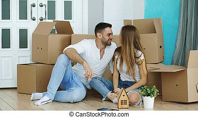 床, 家, 恋人, モデル, 新しい, 幸せ