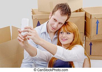 床, 家, selfie, モデル, ∥(彼・それ)ら∥, 取得, 新しい, 恋人, 幸せ