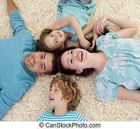 床, 微笑, 一緒の 頭部, 家族