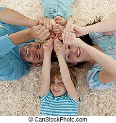 床, 手, 角度, 家族, 高く, 一緒に, 頭