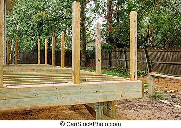 床, 木甲板, インストール, 木, 新しい, 板, 中庭