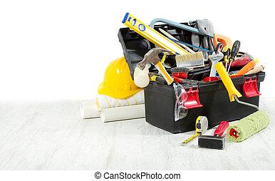 床, 木製である, 上に, space., wall., に対して, 道具箱, コピー, 道具, 空
