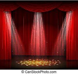 床, 木製である, 空, カーテン, スポットライト, 赤, ステージ