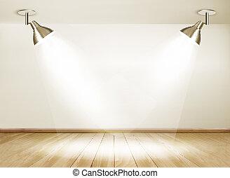 床, 木製である, lights., 2, vector., ショールーム