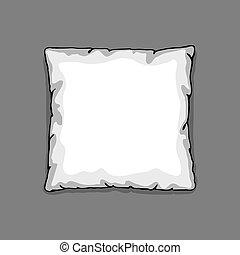 床, 枕頭, 樣板, 被隔离, 上, 灰色, 背景。, 略述, 插圖