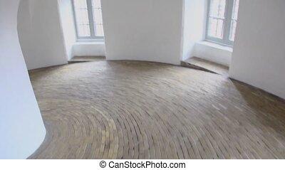 床, 窓, らせん状に動きなさい, 日光, 廊下, 舗装された