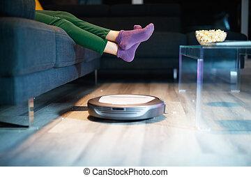 床, 腕時計, ロボット, 清掃, 子供, 映画, 間, tv