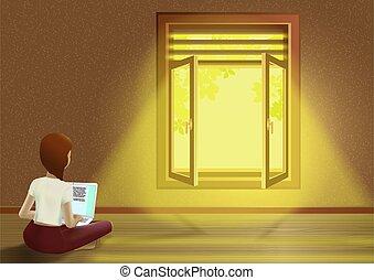 床, 開いているラップトップ, 家, 女の子, モデル, 窓