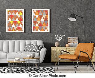 床, 3d, ソファー, 部屋, momodern, 内部, ランプ, 灰色, デザイン, 肘掛け椅子, 暮らし, レンダリング, オレンジ