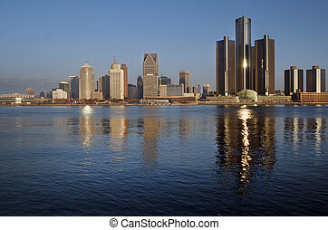 底特律, 全景, 在, 黎明