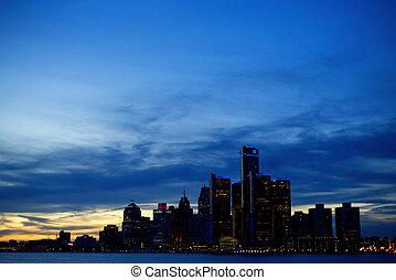 底特律, 城市地平線, 在, 黃昏