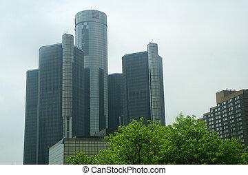 底特律, 密執安, 美國, -, 可以, 22nd, 2018:, the, 新生, 中心, 是, a, 組, ......的, 七, 被互相連接, 摩天樓, 在, 市區, 底特律, michigan., 它, 發球, 如, 一般, 馬達, 世界, 總部