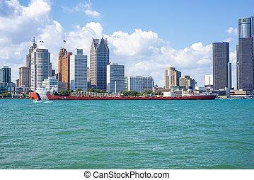 底特律, mi, -, 八月, 18, 2015:, 看法, ......的, 駁船, 駕駛, the, 底特律河, 由于, 一般, 馬達, 建築物, 以及, 市區, 底特律, 在, the, 背景。