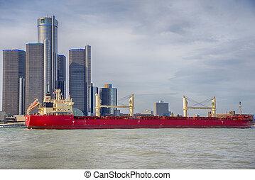 底特律, mi, -, april, 8, 2017:, 看法, ......的, 駁船, 駕駛, the, 底特律河, 由于, 一般, 馬達, 建築物, 以及, 市區, 底特律, 在, the, 背景。