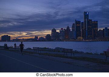 底特律, mi, -, september, 23, 2015:, 看法, ......的, 底特律, 地平線, 由于, 世界, 總部, 為, 一般, 馬達, 公司, 座落, 向前, the, 底特律, river.