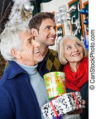 店の ショッピング, クリスマス, 家族, 幸せ