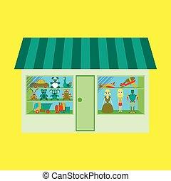 店, おもちゃ, イラスト