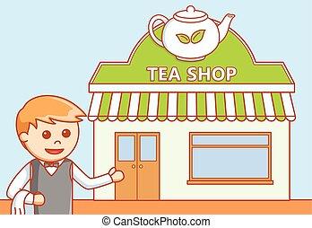 店, お茶, 店